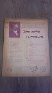 Obras Completas I. J. Paderewski Minuet Piano Partitura M. Eschig París Be 2 Vol