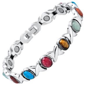 pas cher pour réduction fbec1 c5fb4 Détails sur Bracelet magnétique avec aimants et pierres semi-précieuses