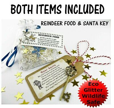 Kids Christmas Eve Xmas Box Magic Reindeer Food Sprinkle Dust Oats Santa Key