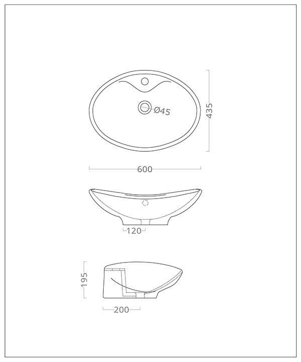 Lavandino Lavabo appoggio Bagno 60x43,5 modello Loira in ceramica bianco 60x43,5 Bagno cm cb3aeb