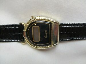 Digital Watch Genuine Leather Black Buckle Band Gold Toned Details