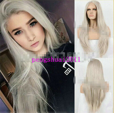 Lace Front Lace Wig Synthetic Ash Blonde Long Straight Heat Resistant Fiber Wigs