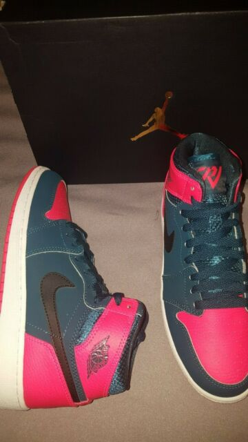 best authentic 89f4c 87869 NIKE AIR JORDAN 1 RETRO HIGH BG KIDS SHOES TEAL INFRARED SIZE 5.5 Y 705300  312
