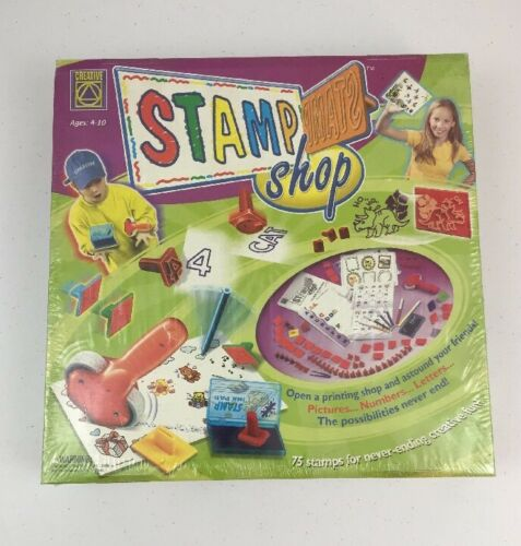 2002 Creative Stamp Shop 75 Assorted Printing Stamps for Kids Sealed Box Craft