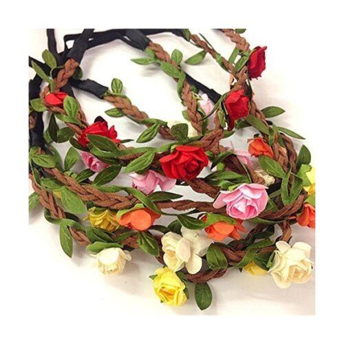 5 Pcs Women Lady Girl/'s Bohemian Boho Style Rose Flower Floral Crown Headband