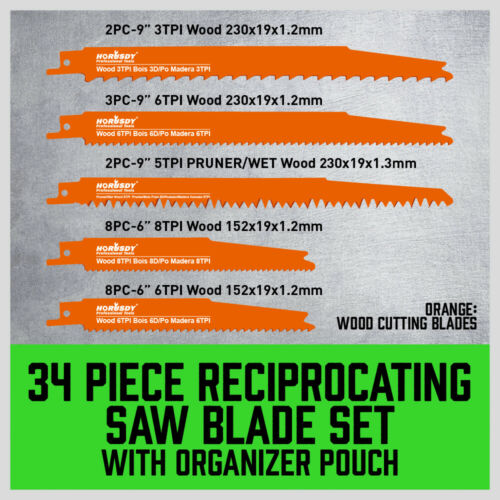 34 Pack Reciprocating Saw Blades Metal//Woodcutting Pruning With Organizer Pouch
