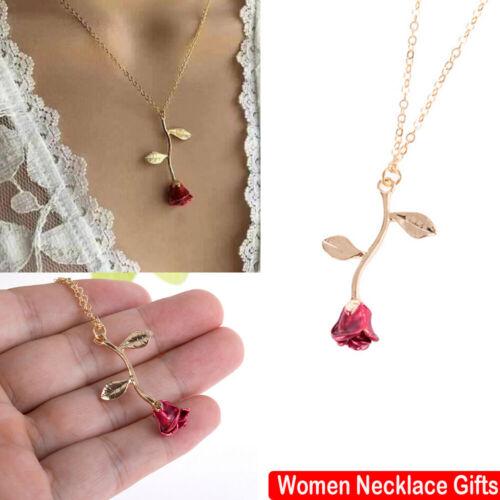 Boho Femmes Pendentif Rose Forme Collier Ras Du Cou Bijoux Chaîne Cadeau