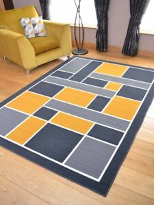 Ocre-moutarde-or-gris-carres-Runner-Petit-Extra-Large-Long-Tapis-Tapis-Bon-Marche