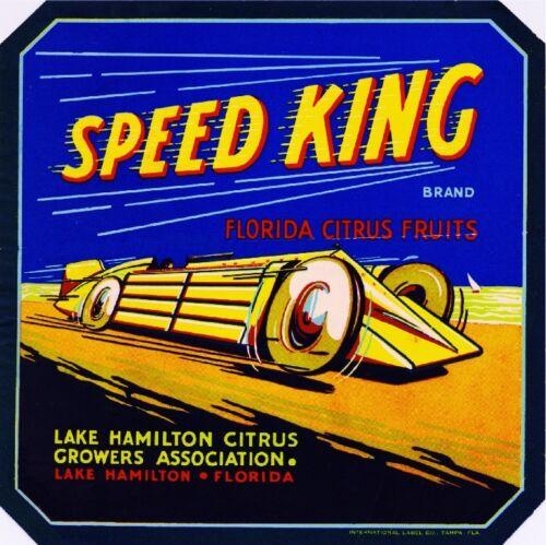 Lake Hamilton Florida Speed King Race Car Orange Citrus Fruit Crate Label Print