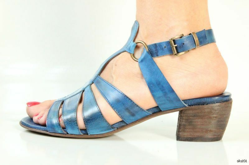 328 new ANDREA M. cobalt bluee leather T-strap sandals shoes 39 9 made in