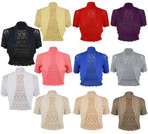NEW LADIES WOMENS KNITTED LONG BOLERO SHRUG CARDIGAN SHORT SLEEVE DRESS TOP 8-14