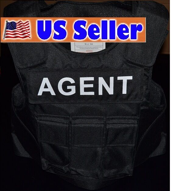 AGENT TAG    3A SIZE Medium Body Armor Bullet Proof   Stab Proof  Vest NEW