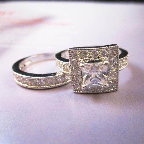 5.6 Karat CT Baguette Square Paved 2 Ring Wedding Set Size 5 6 9 7 8