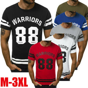 Fashion-Men-039-s-Casual-T-Shirt-Muscle-Slim-Letter-Printed-Short-Sleeve-Top-Blouse