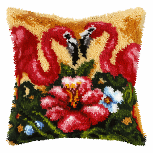 Details About Orchidea Latch Hook Cushion Kit Large Flamingo Needlecraft Kits