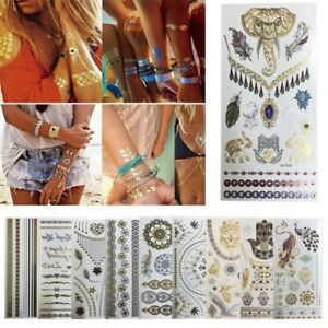 6a5efca3c1f25 Image is loading 8-Sheets-Temporary-Disposable-Metallic-Tattoo-Gold-Silver-