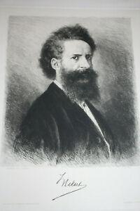 Antique etching, portrait of HANS MAKART, ~1880