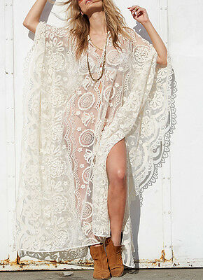 SchöN Maxi Kimono Kleid Stickerei Spitze Kaftan Embroidered Lace Dress Robe One Size L üBerlegene Materialien
