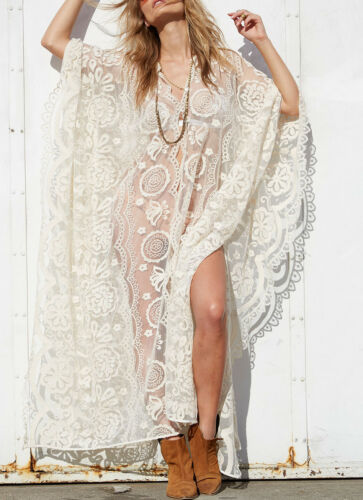 One Kleid Dress Stickerei Robe Kaftan Long Embroidered Kimono Size L Spitze Lace 6wYFqzyCf