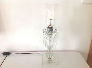 Vintage Crystal Chandelier Table Lamp With Glass Crystal Prisms Ebay