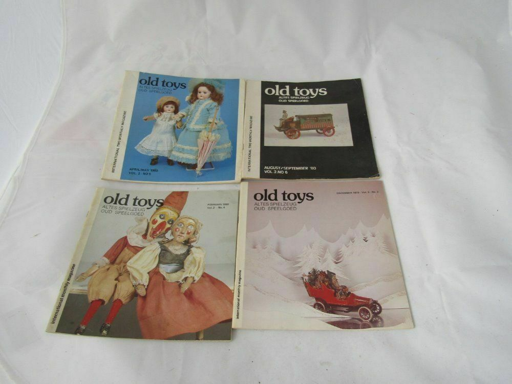 FOUR OLD TOYS INTERNATIONAL MAGAZINES IN GERMAN AND ENGLISH - TOYS RANGE FROM 19