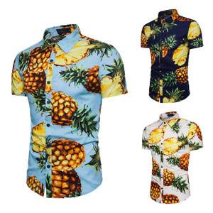 Holiday-Hawaii-Mens-Large-Pineapple-Print-Short-Sleeve-Casual-Shirts-Blouse-Tops