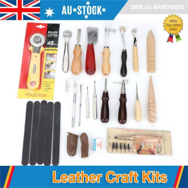 39PCS Leather Craft Hand Tool Set Stitching Sewing Stamping Punch Carve Work AU