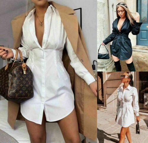 Womens Ladies Long Sleeve Collared Button Up Tailored Waist Longline Shirt Dress