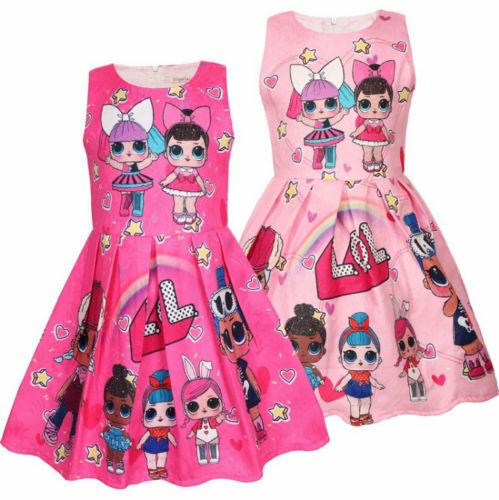 New Girls Lol Surprise!!Doll Princess Dress Kids Party Birthday Holiday Skirts