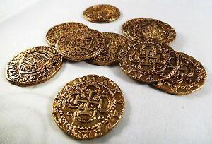 Superb Job Lot 10 Spanish Gold Doubloons - Coins/Pirates/<wbr/>Treasure/Spani<wbr/>sh/Gift