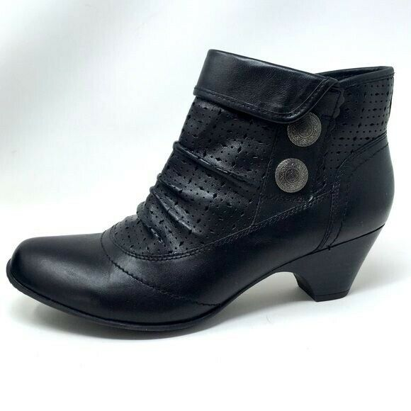 Cobb Hill Booties Perforated Ankle Boot Black Size 9.5