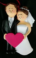 Personalized Bride And Groom Wedding Christmas Ornament Holiday Gift Brown Hair