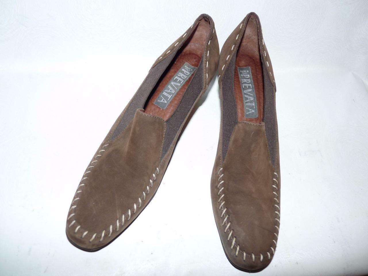 Prevata Brown Suede with Ivory Whipstitch Wedge Heels Loafers Made In Italy 8AA