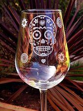 Engraved Candy Skull Wine Glass - New - Handmade
