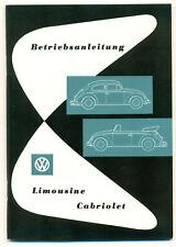 VW Käfer Limousine Cabriolet Betriebsanleitung Bedienungsanleitung 1957