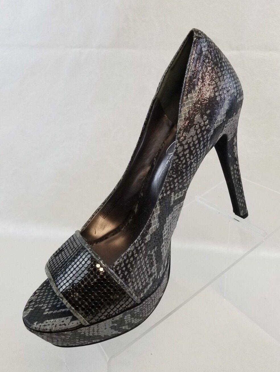 Jessica Simpson Terri Platform Stilettos Damenschuhe Schuhes Pewter Print Slip On Schuhes Damenschuhe 9.5B 2c7219