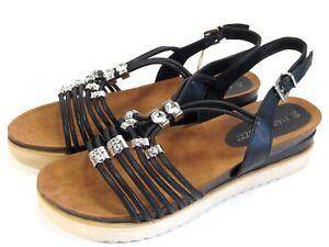 competitive price 268aa 32a46 Details zu MARCO TOZZI Leder Schuhe Sandaletten Fussbett Sandalen NEU