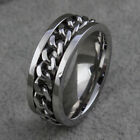 Spinner Mens Silver /Gold /Black Chain Stainless Steel Ring Band Titanium 8mm