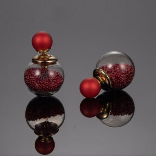 Para mujeres de alta calidad de oro 18K de doble cara Cuentas de Cristal Aretes Pendientes Regalo UK