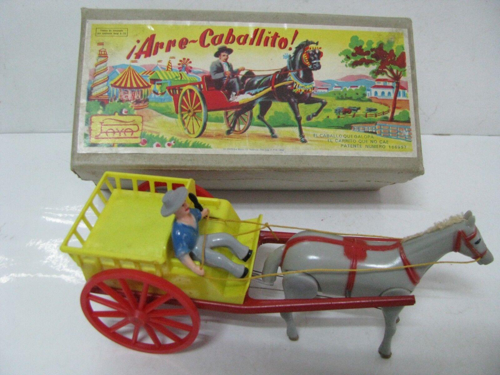 Antiguo juguete ARRE CABALLITO con cuerda en su caja original,fabricado por PAYA