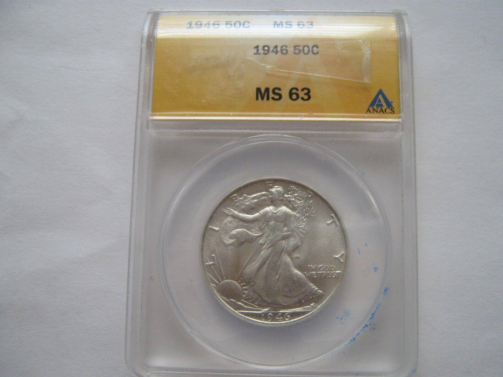 1946 , Walking Liberty Half Dollar , ANACS , MS 63