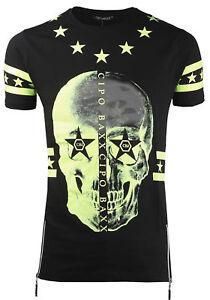 Cipo-amp-Baxx-Camiseta-Hombre-Manga-Corta-Cremallera-Calavera-Cuello-Redondo-ct272