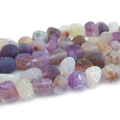 45 HALBEDELSTEIN Perlen ACHAT Crackle Nuggets 8-11mm nenad-design E173 ca