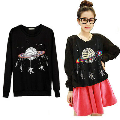 Hot Women Crewneck Long Sleeve Tops Harajuku Saturn Astros Cartoon Raglan Blouse