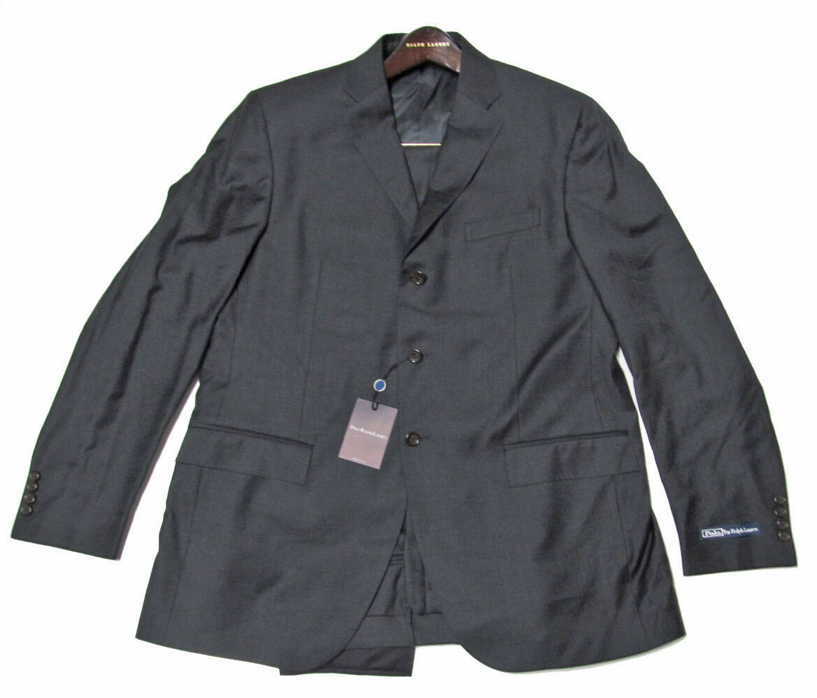 1,395 Ralph Lauren  Herren Solid Dark Grau Polo 2 Virgin Wool  3 Button Suit