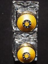 VTG 2 PRYDZ Norway Sterling Guilloche Vermeil Enamel Yellow Glass Salt Pepper FC