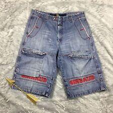 VTG Marithe Francois Girbaud Cargo Jean Shorts Distressed Baggy Hip Hop Urban 38