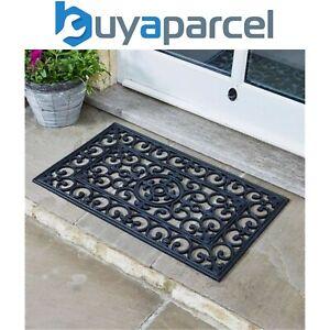 Smart Garden Rubber Victorian Cast Iron Style Door Mat Black Outdoor Doormat