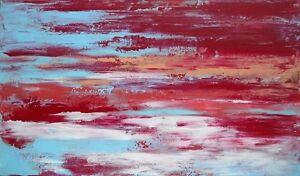 PAYSAGE-tableau-abstrait-original-signe-HZEN-peinture-034-LA-BAIE-LE-SOIR-034-27x46