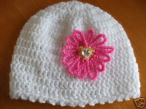 Frank Handcrocheted Hat With Crystal Effect Heart..to Fit.tiny..0/3..3/6...9/12 Months Other Newborn-5t Girls Clothes